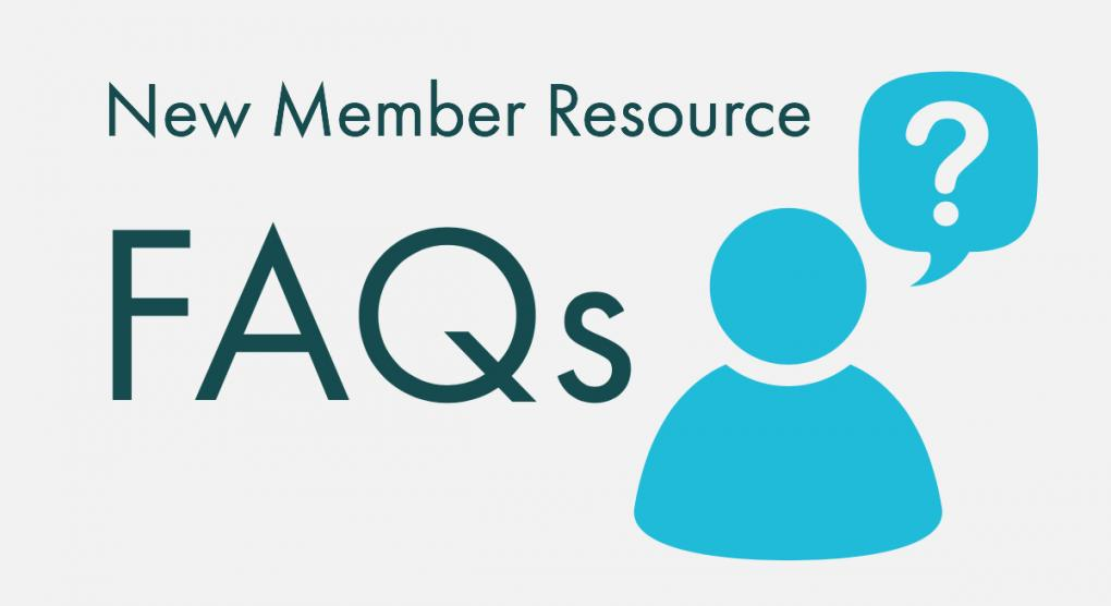 "icon of person asking question, text stating ""New member service: FAQs"""